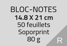 200 Bloc-notes de 50 feuillets 14.8 x 21 cm. Soporprint 80 g. Couleur recto