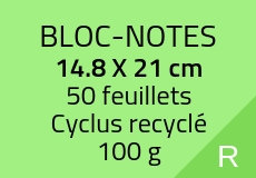 200 Bloc-notes de 50 feuillets 14.8 x 21 cm. Cyclus 100 g. Couleur rect