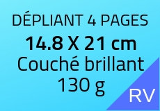400 Dépliants 4 pages 14.8 X 21 cm. Couché brillant 130 g. Couleur recto verso