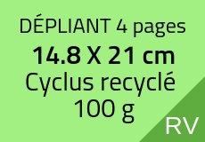 3000 Dépliants 4 pages 14.8 X 21 cm. Cyclus recyclé 100 g. Couleur recto verso