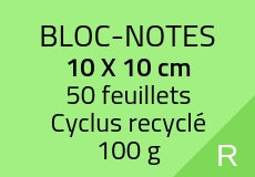 50 Bloc-notes de 50 feuillets 10 x 10 cm. Cyclus 100 g. Couleur recto