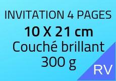 300 Invitations 4 pages 21 X 10 cm. Couché brillant 300 g. Couleur recto verso