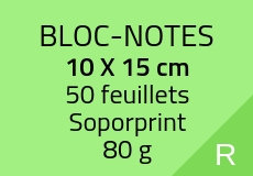 400 Bloc-notes de 50 feuillets 14.8 x 21 cm. Soporprint 80 g. Couleur recto