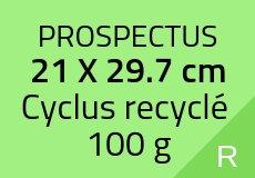 400 Prospectus 21 x 29.7 cm. Cyclus recyclé 130 g. Couleur recto