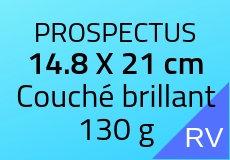 500 Prospectus 14.8 x 21 cm. Couché brillant 130 g. Couleur recto verso
