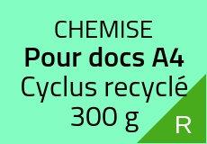 700 Chemises 21.5 X 31 cm. Cyclus recyclé 300 g. Couleur recto