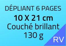 900 Dépliants 6 pages 10 X 21 cm. Couché brillant 130 g. Couleur recto