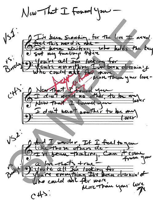 Now That I Found You - Lyric Sheet - Autographed
