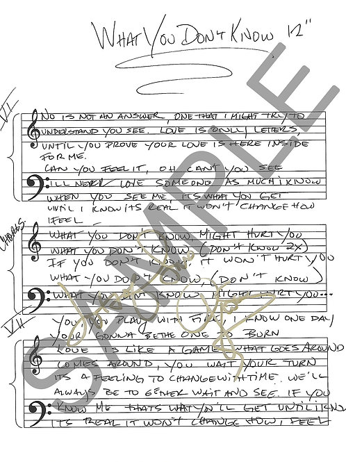 What You Don't Know - Lyric Sheet - Autographed