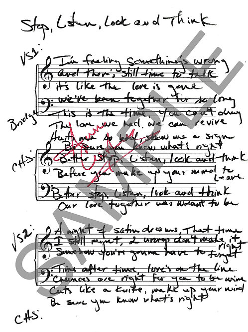 Stop, Listen, Look & Think - Lyric Sheet - Autographed