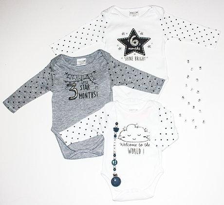 3 romper setje mijlpaal.  babyshower, kraamgeschenk www.bimbolino.be