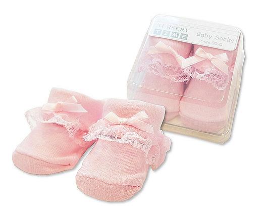 roze sokjes met kant voor baby. www.bimbolino.be