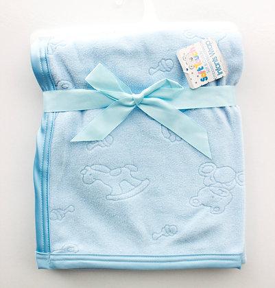 blauw fluweelzacht dekentje baby. www.bimbolino.be