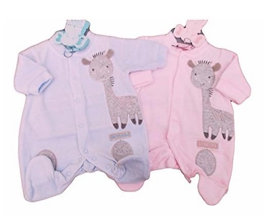 Eendelige prematuur Pyjama voor baby zachte fluweel stof. www.bimbolino.be