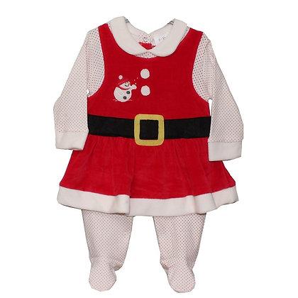 Eendelige kerstPyjama voor baby zachte fluweel stof. www.bimbolino.be