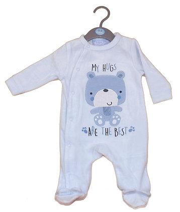 Eendelige Pyjama voor baby zachte fluweel stof. www.bimbolino.be