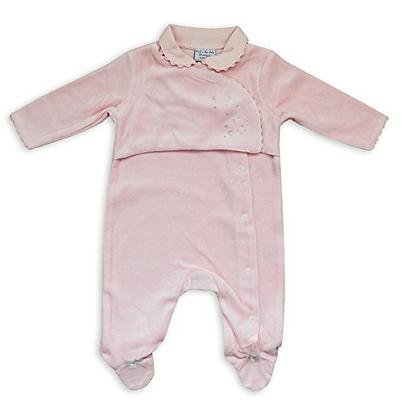 Eendelige Pyjama voor baby zachte fluweel stof en strass. www.bimbolino.be