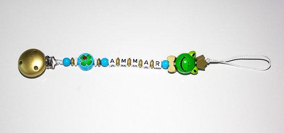 speenkoord met naam als ideale en leuke  babygeschenk of kraamcadeau. www.bimbolino.be