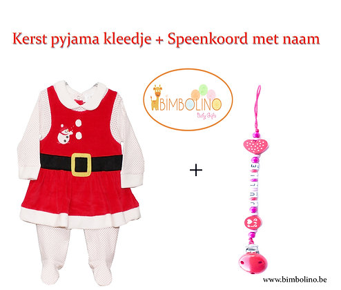 leuk baby kerst cadeau set: kerstpyjama met gepersonaliseerd speenkoord. www.bimbolino.be