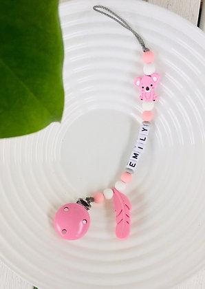 Siliconen speenkoord met naam - Koala - Roze/Grijs