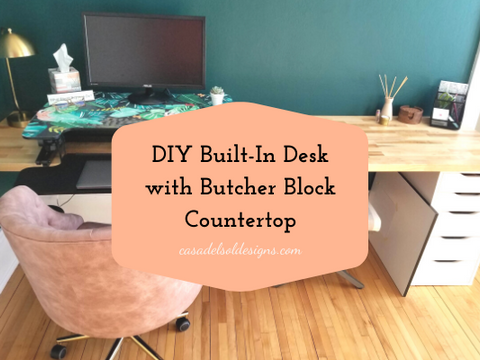 DIY Built-In Desk with Butcher Block Countertop