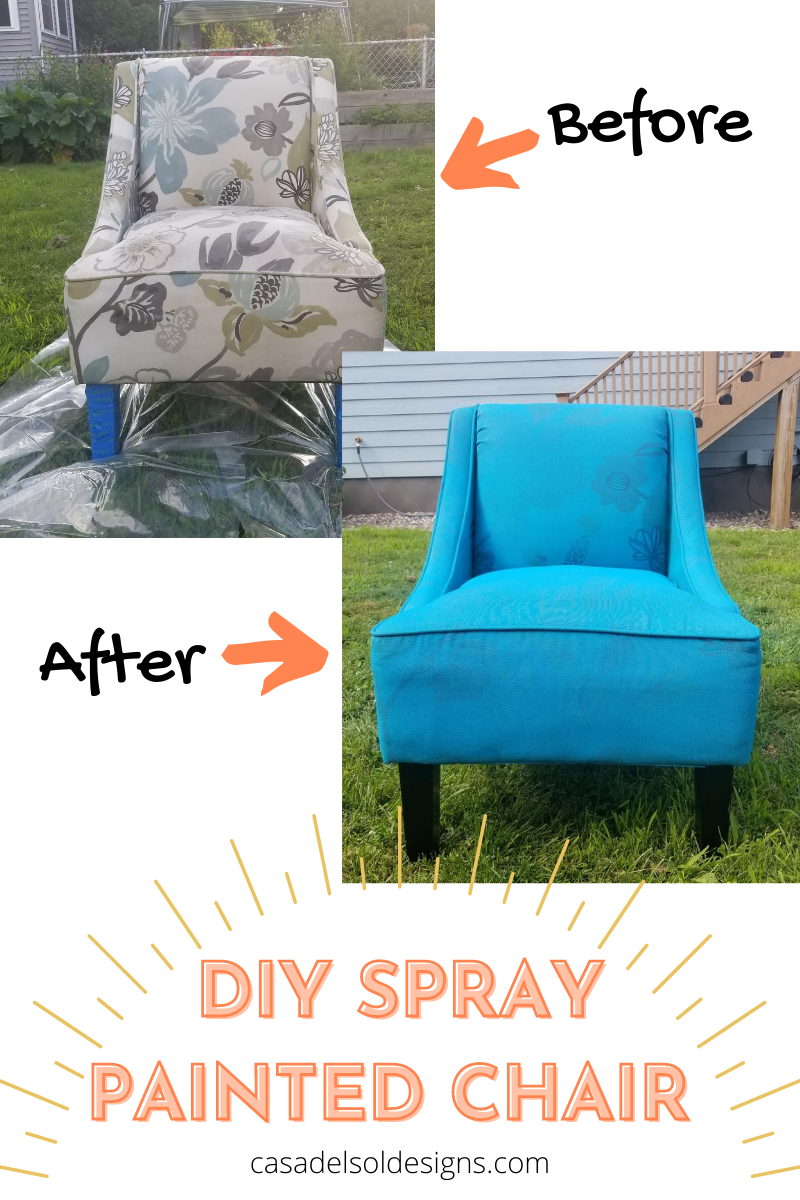 How to spray paint a chair with upholstery spray paint.