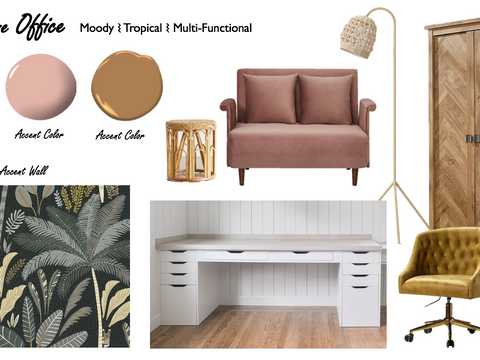 Boho Home Office Design - Floor Plan and Mood Board