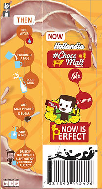 Hollandia Choco Malt back-of-pack to highlight the difference between the traditional way of having a malted drink and instant drink