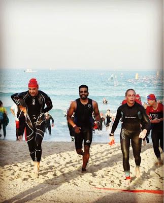 At the beach before bike race at Ironman 70.3 Dubai
