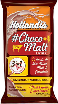 Hollandia Choco Malti 3in1 package design in conversational