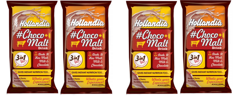 Holandia choco malt drink range packaging