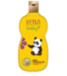 Lotus Herbals Baby Plus Baby Masage Oil Brand Packaging Design In Yellow Shade With Panda In It