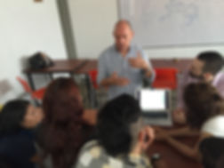 Dennis Hodges leading a workshop with university students in Medellin, Colombia