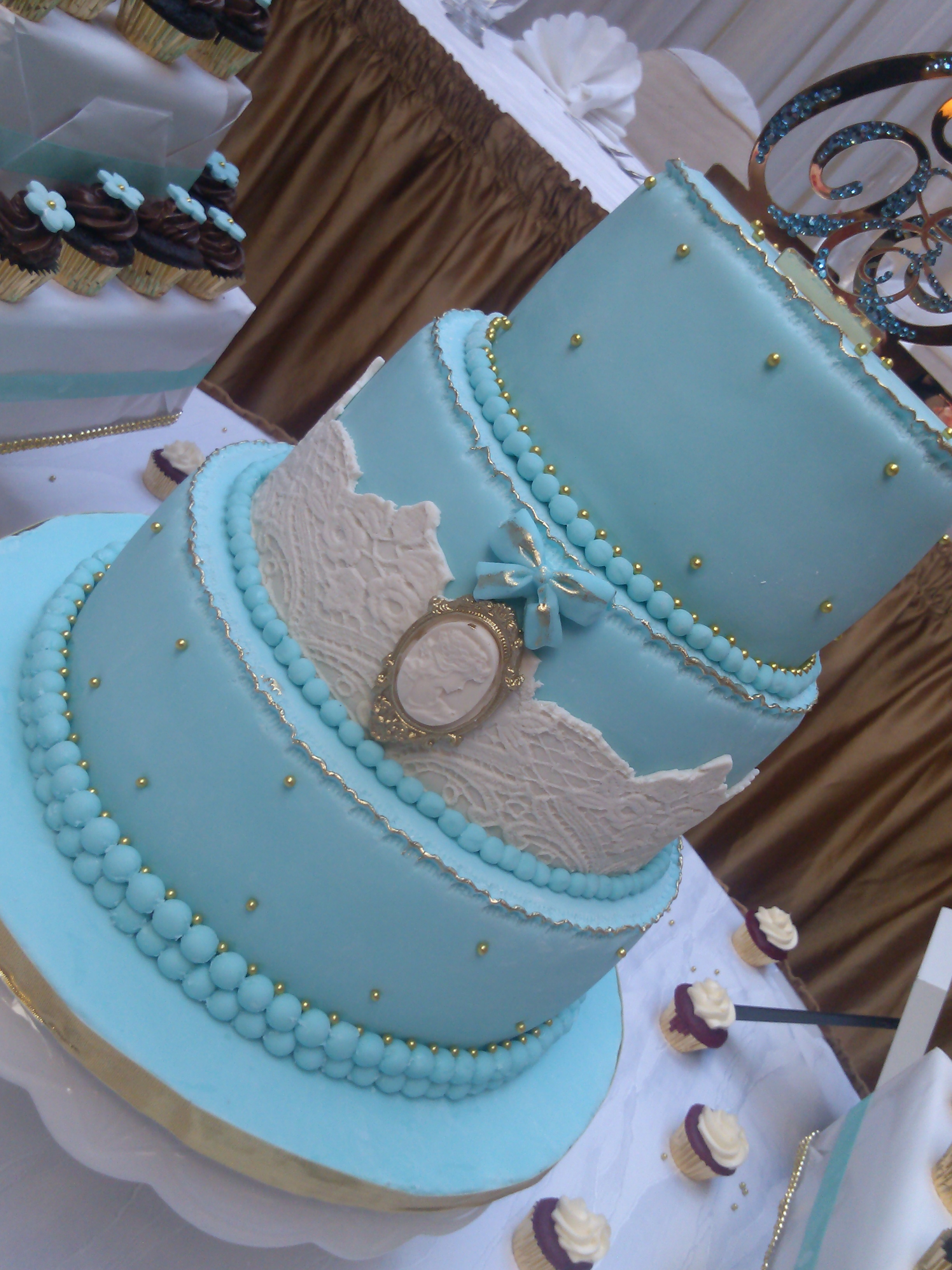 Or Turquoise blanc et beige