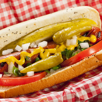 Chicago Style Hot Dog with Mustard, Pick