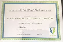 Award certificate for the council