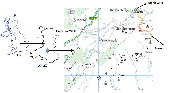 Map showing where Llangammarch is