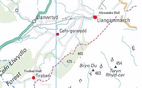 Map of Llangammarch to Tirabad