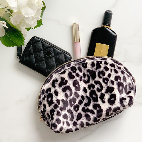 Velvet Leopard Makeup Bag