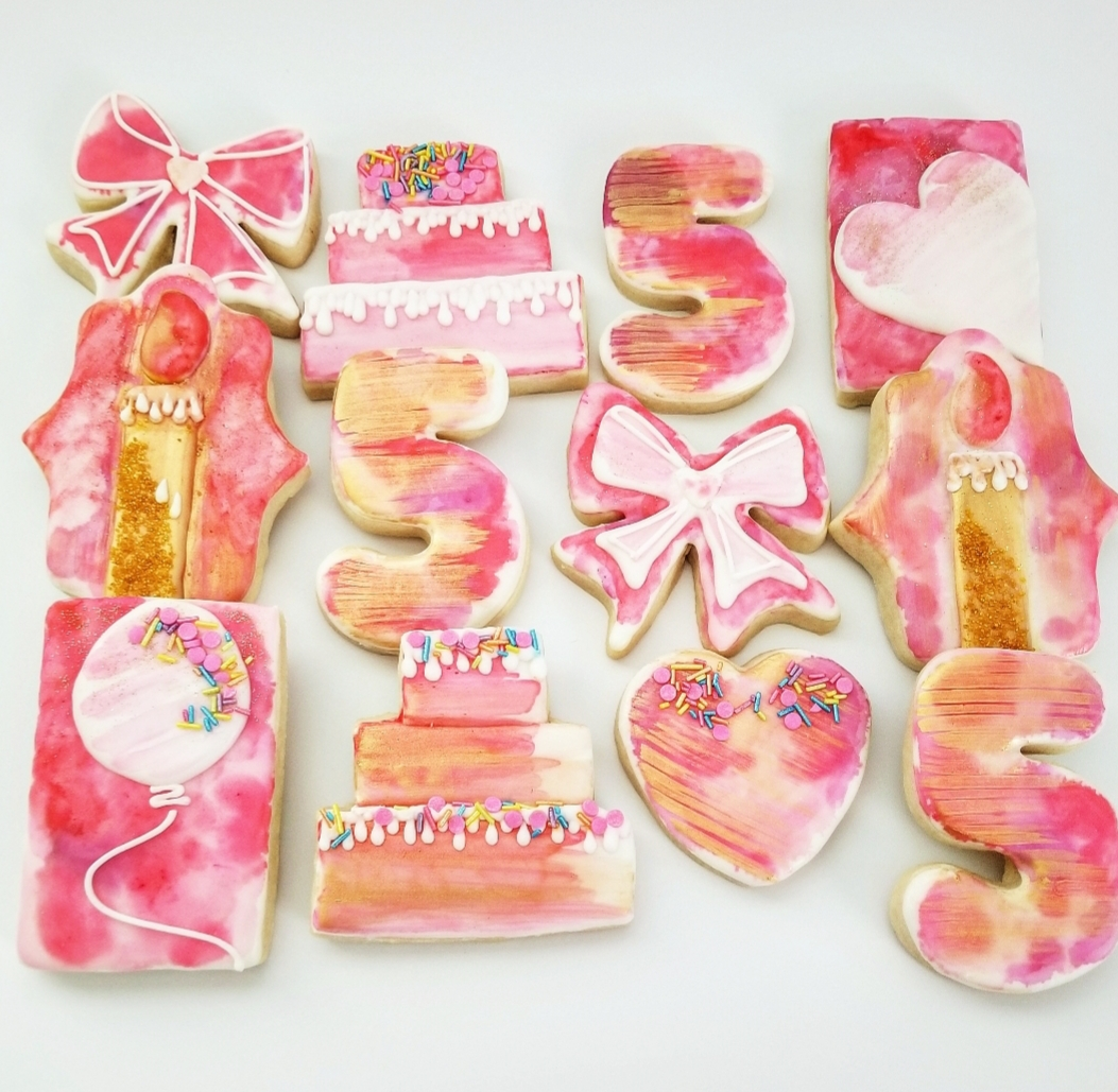 watercolor decorated sugar cookies