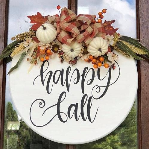 """Happy Fall 18"""" Wooden Door Hanger"""