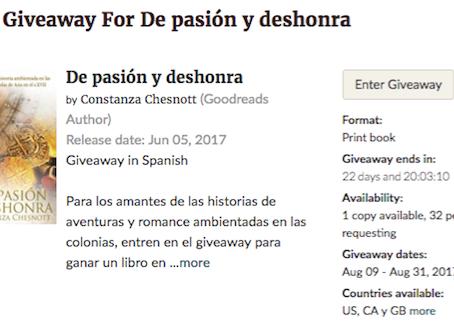 """Giveaway en Goodreads de la novela histórica """"De pasión y deshonra"""""""