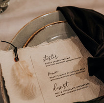 The Feather Wedding Stationery Menu