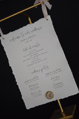 Cotton Handmade Wedding Stationery On The Day Sign