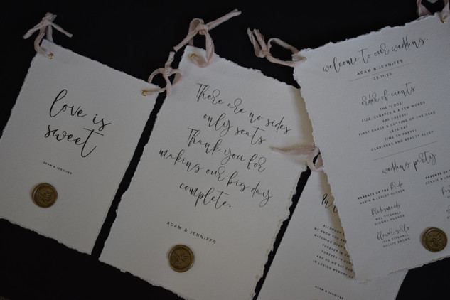 Cotton Handmade Wedding Stationery On The Day Signs