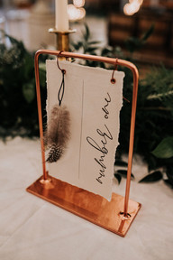 The Feather Wedding Stationery Table Number