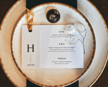 The Lawrence Wedding Menu and Place Card