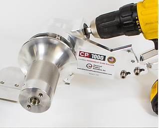 The CP1000 Circuit Puller powered with a DeWalt cordless drill.