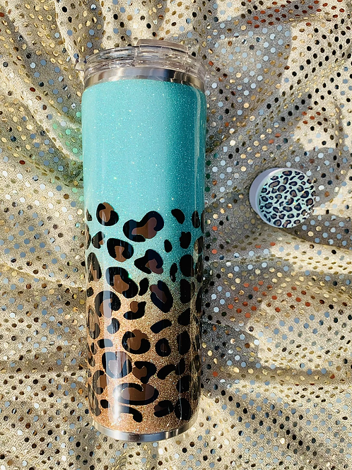 20 ounce Leopard tumbler with free phone grip