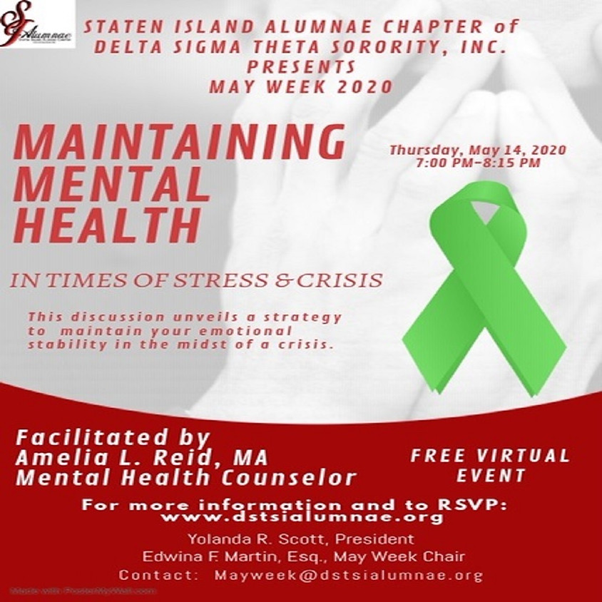 May Week 2020: Maintaining Mental Health in Times of Stress & Crisis
